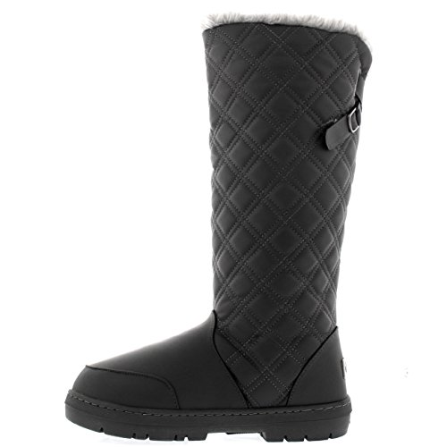 Holly Womens Quilted Twin Strap Back Tall Buckle Winter Snow Rain Boots Grey Leather aDI8fGDFJ