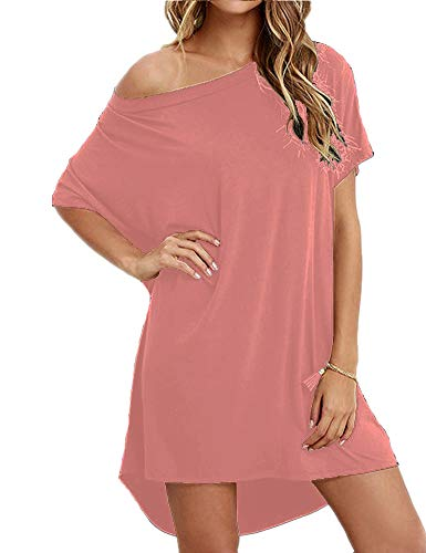 - Hioinieiy Women's Short Sleeve T Shirt Dress Soft Nightgown Loose Top Plus Size Cover Up for Casual Summer Pink
