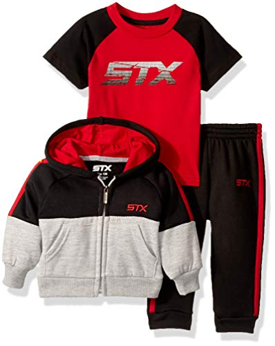 STX Fashion Baby Boys 3 Piece Hoodie, T-Shirt, and Jogger Set, Black/red, 18M -