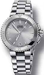 Oris Women's 'Aquis' Swiss Automatic Stainless Steel Dress Watch, Color:Silver-Toned (Model: 73376524141MB)