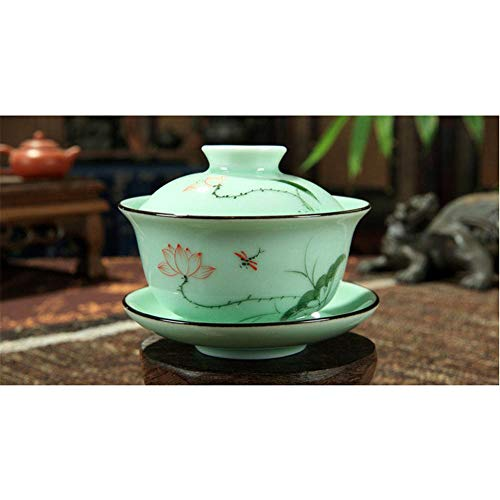 DELIFUR(TM) Celadon Handcrafted Porcelain Tea Set Lotus Theme Porcelain Tea Pot Covered Teacup Gongdao Cup From China (Covered teacup)