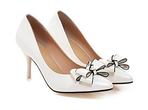 del del Altos del Boca la con Baja Corte Dedo Sólido Apuntó Zapatos XIE Zapatos Elegante El de los Dulce de la Viento Color Pink los Fino WHITE 43 pie Talones los Planos 37 de wIPOfq