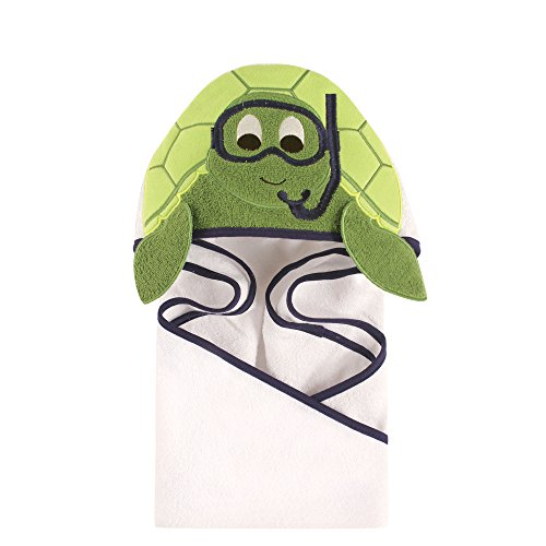 Hudson Baby Unisex Baby Animal Face Hooded Towel, Scuba Turtle 1-Pack, One Size (Boy Baby Turtle)
