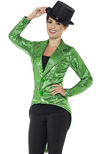 Smiffys Women's Sequin Tailcoat Jacket, Ladies, Green, Medium]()