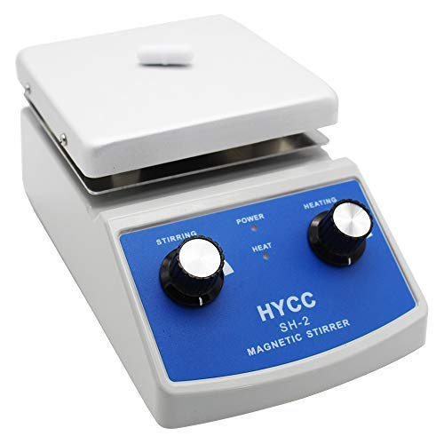 HYCC SH-2 Laboratory Magnetic Stirrer HotPlate, 30mm Mixer Stir Bar and Thermometer Support, 120x120mm Aluminium Panel,Heating & Stirring Type ()