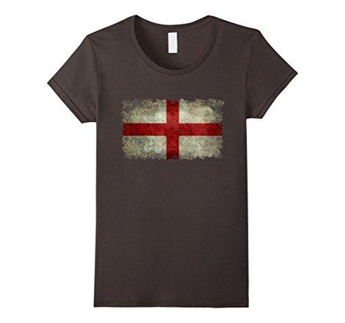 George English Flag (Womens Grungy English St George's Cross Flag T-Shirt Large Asphalt)