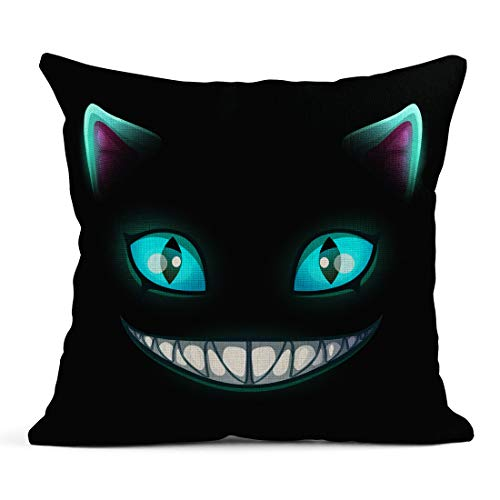 Semtomn Decor Flax Throw Pillow Covers Case Blue Smile Fantasy Scary Smiling Cat Face on Cheshire 18