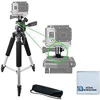 57 Pro Series Aluminum Tripod + Tripod Mount for GoPro HERO 1, 2, 3, 3+, 4, 5 Camera, + eCost Microfiber Cloth