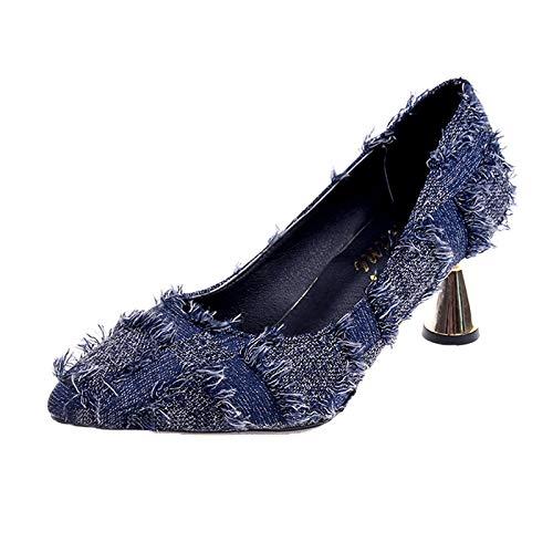 Yukun zapatos de tacón alto Zapatos De Mujer De Tacón Alto Zapatos De Mujer De Tacones Altos De Otoño Tazón De Vino Profesional con Boca Poco Profunda Blue