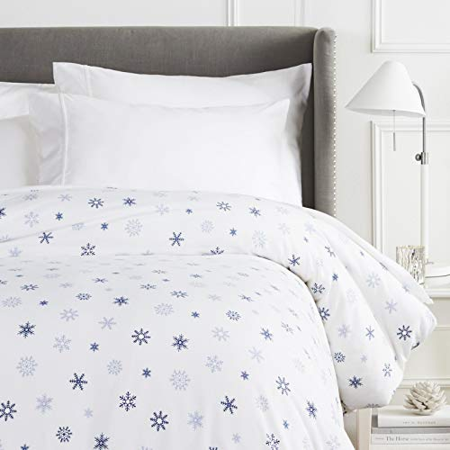 Pinzon Cotton Flannel Duvet Cover - Twin, Falling Snowflake Blue (Duvet Flannel Blue Cover Plaid)