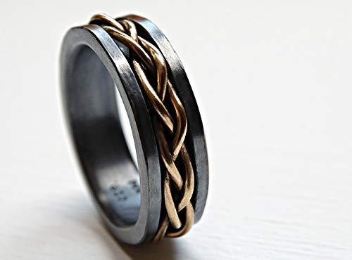 mens wedding band viking, celtic wedding ring gold braided ring black silver, gold promise ring mens, gold mens band braided gold woven ring ()