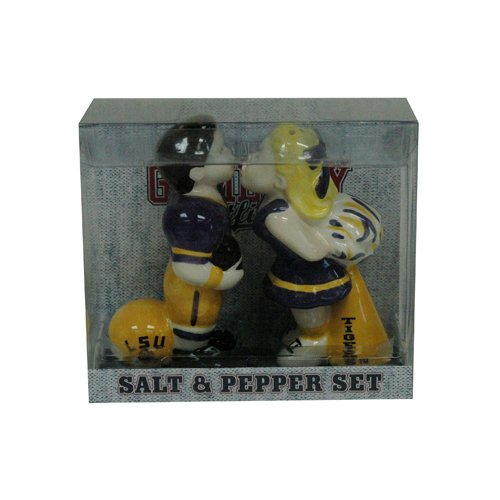 (Game Day Outfitters NCAA LSU Tigers Cheerleaders Kissing Salt/Pepper Set, One Size, Multicolor)