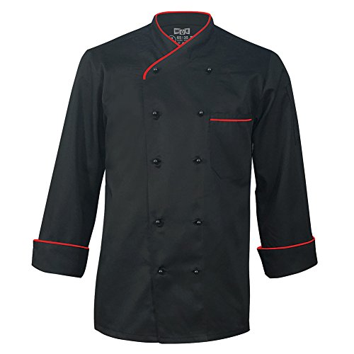 Long Sleeve Chef Jacket - 10oz Apparel Long Sleeve Black Chef Coat with Red Piping L