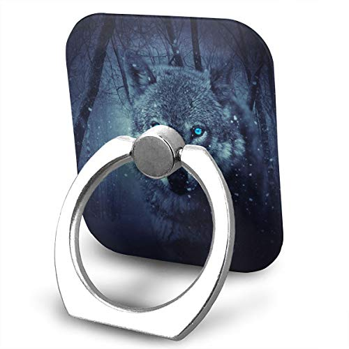 Wild Wolf Phone Ring Stand Holder Metal Finger Grip Stand Holder Ring,Car Mount 360°Rotation Phone Ring Grip for Samsung Galaxy iPhone Tablet PC Smartphone Phone Ring Stent (Square) ()