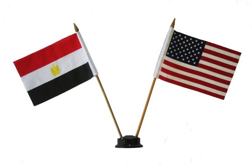 USA & EGYPT Small 4 X 6 Inch Mini Double Country Stick Flag