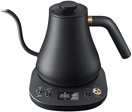 Willsence Electric Gooseneck Kettle Temperature Control, Pour Over Kettle for Coffee and Tea, 100% Stainless Steel Inner Lid and Bottom, 1200W Rapid Heating, 0.8L, Built-in Stopwatch, Matte Black