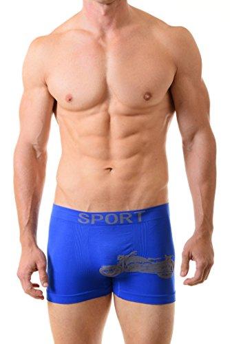 Biker Boxer Brief - Fashion Mic Men's Basic Casual Seamless Boxer Briefs-Biker Print (one size, blue)