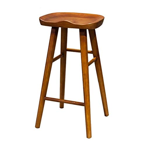 SZPZC Wooden Barstool Furniture Contoured Saddle Seat 21/25/29-Inch Footrest Bar Stool Chair for Kitchen Island | Pub | Café or Counter, Vintage Walnut Bar Chairs (Size : 75cm)