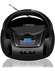 LONPOO Kids CD Player Portable Boombox with Bluetooth, FM Radio, USB Playback, AUX Input and Stereo 3.5mm Earphone Output (Black)