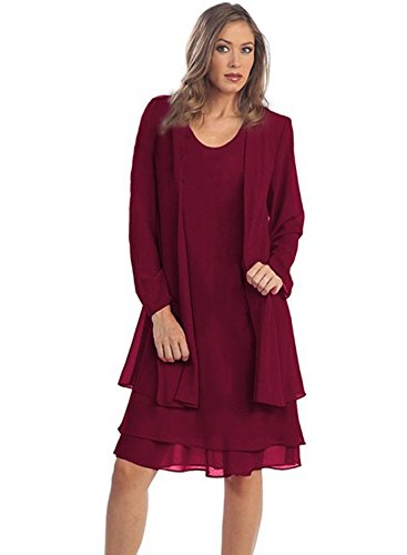 IHOT Women 2 Pcs Set Chiffon Jacket Dress Mother of Bride Dresses Wine Red