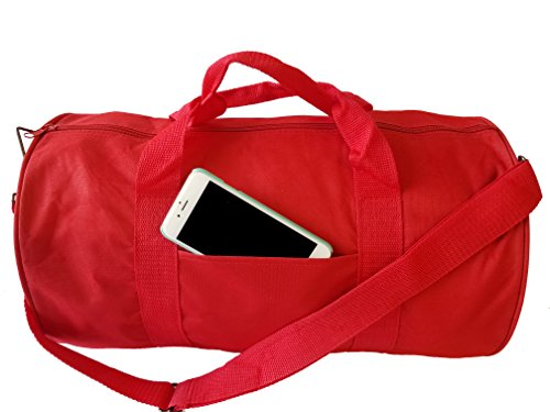 ImpecGear Round Duffel Sports Bags, Travel Gym Fitness Bag. (Red)