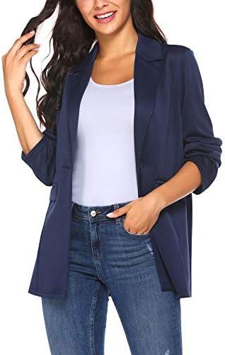 Pinspark Womens Casual Work Office Blazer Long Sleeve Open Front Jacket Suit Lapel Pocket Cardigan