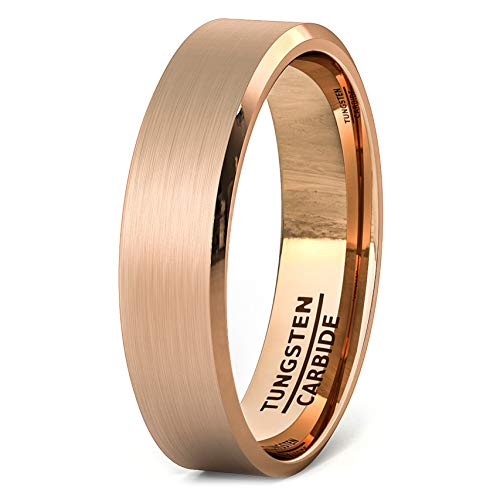 Duke Collections 6mm Rose Gold Brushed Tungsten Ring Beveled Edge Comfort Fit (9)