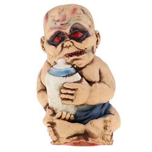 (SM SunniMix Creepy Latex Zombie Evil Baby with Red Eyes Ghost Scary Ghost Dolls Halloween Decor)