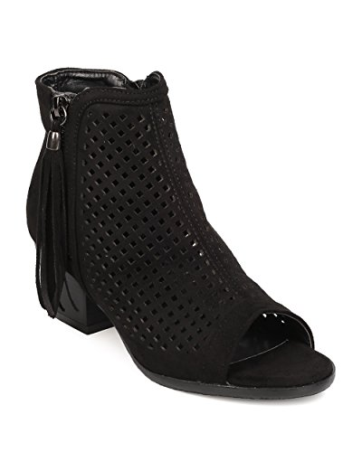 Nature Breeze FA66 Women Faux Suede Peep Toe Perforated Chunky Heel Bootie - Black