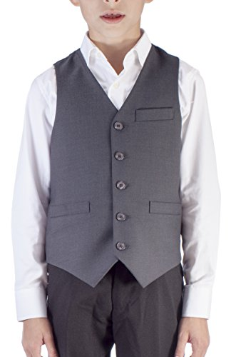 Alberto Cardinali Boys Solid Color Suit Separate Vest VB101 Gray (Large (Boys Gray Vest)
