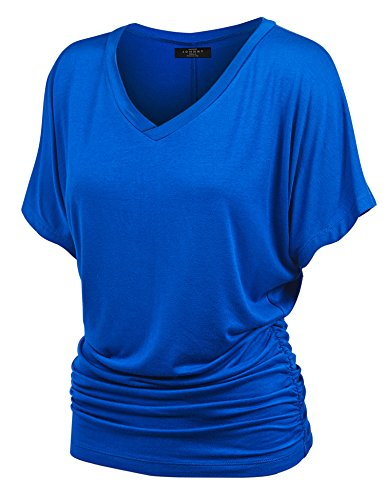 MBJ WT1037 V Neck Short Sleeve Dolman Top with Side Shirring XXL -