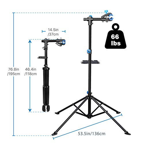 Flexzion Bike Repair Stand Rack Foldable Cycle Bicycle Workstand Home Pro Mechanic Maintenance Tool Adjustable 41'' To 75'' With Telescopic Arm Clamp Lightweight and Portable by Flexzion (Image #5)