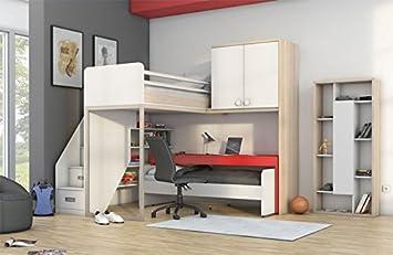 Etagenbett Schreibtisch : Newjoy kinder jugendzimmer komplett hochbett schreibtisch