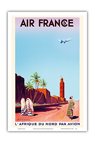Marrakech, Morocco - North Africa by Air (L'Afrique Du Nord Par Avion) - France - Vintage Airline Travel Poster by Maurice Guiraud-Riviére c.1934 - Master Art Print - 12in x 18in