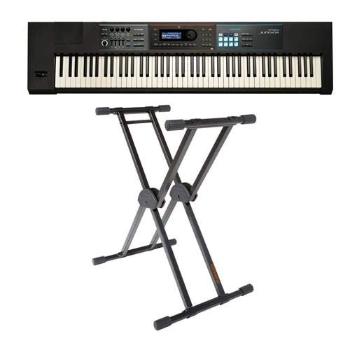 Roland JUNO-DS88 Gig-Ready 88-Note Weighted-Action Keys Synthesizer - Bundle With KS-20X Double Brace Keyboard X-Stand