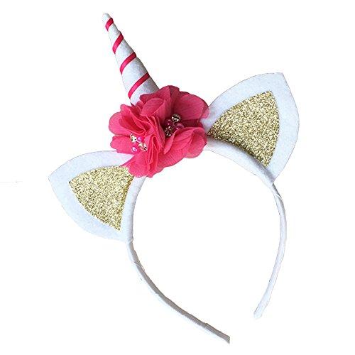 Flybuild/® Magical Unicorn Horn Head Party Kid Hair Headband Fancy Dress Party Decorative Flower Hairband Kids Girls Headbands Headwear Unicorn Headband Light Pink
