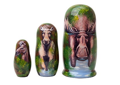 "Made in Russia Moose Matryoshka Nesting Doll 3pc./4"" aka Bullwinkle Collectible Babushka Matreshka Authentic Russian Doll of top quality 100% Guaranteed! (Alaskan Baskets)"