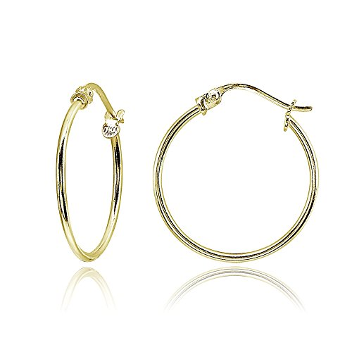 Yellow Gold Flashed Sterling Silver Small 20mm High Polished Round Thin Lightweight Unisex Click-Top Hoop Earrings