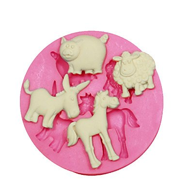 All U?Want Animal Shape Mould Sheep Pig Donkey Horse Cake Decorating Silicone Mold For Fondant Candy Crafts Jewelry PMC Resin Clay