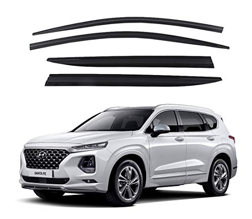 AUTOCLOVER Dark Smoked Side Window Vent Visor 4 Piece Set for Hyundai Santa FE 2018-2019 / Safe RAIN Out-Channel Guard Deflector