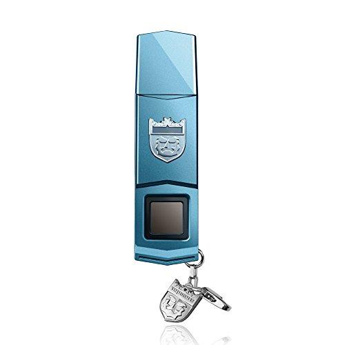 Biometric Usb Flash Drives - TOPMORE Phecda Fingerprint Recognition USB3.0 Flash Drive Fingerprint ID Security Flash Disk Biometric Fingerprint Reader Memory Stick (16GB, Blue & Silver)