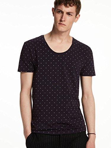 Scotch & Soda T-Shirt mit Rundhals 101597 night blue dots
