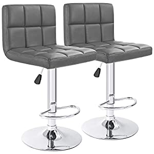 Furmax Leather Bar Stools Counter Height Modern Adjustable Synthetic Leather Swivel Bar Stool