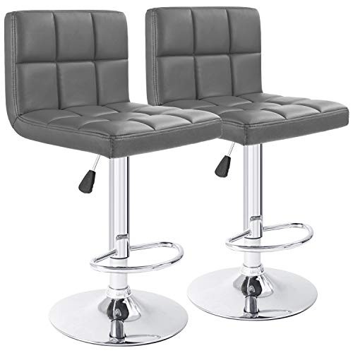 Furmax Bar Stools Modern Pu Leather Swivel Adjustable Hydraulic Bar Stool Square Counter Height Stool Set of 2(Gray)