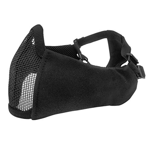 Ants-Store - Tactical Half Face Metal Steel Net Mesh Mask Hunting Protective Guard Mask Cover for Airsoft Ear protection half-face mesh mask