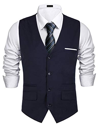 Daupanzees Men's Dress Vest 1920's Style Slim Fit