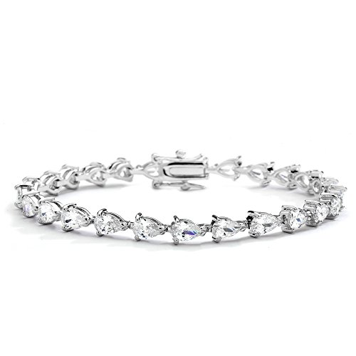 Designer Style Cubic Zirconia Bracelet (Mariell Luxurious Pear-Shaped Cubic Zirconia Tennis Bracelet - Genuine Platinum Plated Bridal Jewelry)
