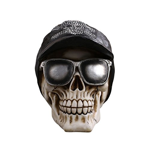 Amosfun Halloween Skull Decoration Funny Scary Skull with Hat and Glasses Resin Skull Model for Halloween Drawing Sample and Home -