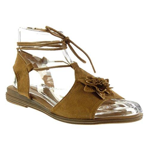 Mode cm 2 Spartiates Chaussure Bloc Sandale Talon Camel Lanière Fleurs Angkorly Femme Ouverte AwpgfBqR