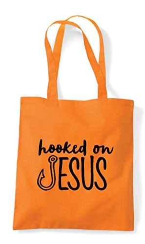 Jesus On Shopper Hooked Orange Tote Bag q17Px185w